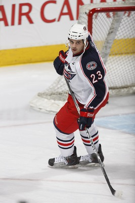 EDMONTON, CANADA - DECEMBER 16: Tom Sestito #23 of the Columbus Blue Jackets skates against the Edmonton Oilers on December 16, 2010 at Rexall Place in Edmonton, Alberta, Canada. (Photo by Dale MacMillan/Getty Images)