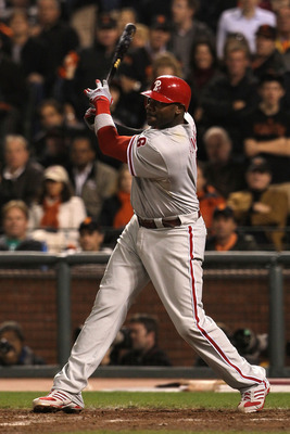 SAN FRANCISCO - OCTOBER 20:  Ryan Howard #6 of the Philadelphia Phillies hits a double off Javier Lopez #49 of the San Francisco Giants in the eighth inning of Game Four of the NLCS during the 2010 MLB Playoffs at AT&T Park on October 20, 2010 in San Fran