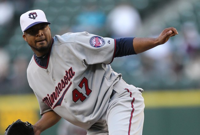 SEATTLE - MAY 31:  Starting pitcher Francisco Liriano #47 of the Minnesota Twins pitches against the Seattle Mariners at Safeco Field on May 31, 2010 in Seattle, Washington. (Photo by Otto Greule Jr/Getty Images)