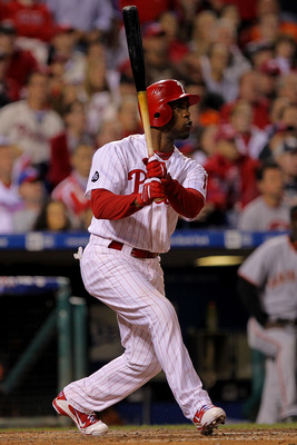 PHILADELPHIA - OCTOBER 17:  Jimmy Rollins #11 of the Philadelphia Phillies hits a three run double to left field in the seventh inning against the San Francisco Giants in Game Two of the NLCS during the 2010 MLB Playoffs at Citizens Bank Park on October 1