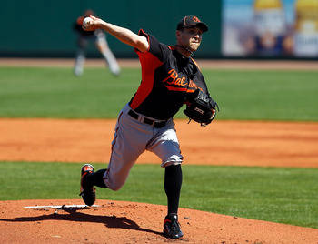 BRADENTON, FL - FEBRUARY 28:  Pitcher Brad Bergesen #35 of the Baltimore Orioles pitches against the Pittsburgh Pirates during a Grapefruit League Spring Training Game at McKechnie Field on February 28, 2011 in Bradenton, Florida.  (Photo by J. Meric/Gett