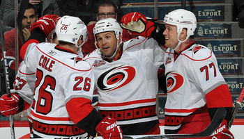 Stillman scores his first goal back with Carolina. Photo Credit: NHL.com.