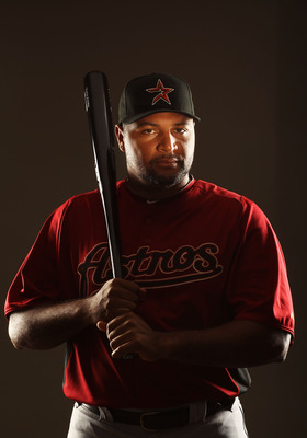KISSIMMEE, FL - FEBRUARY 24:  Carlos Lee #45 of the Houston Astros poses for a portrait Spring Training photo Day at Osceola County Stadium  on February 24, 2011 in Kissimmee, Florida.  (Photo by Al Bello/Getty Images)