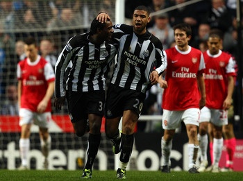 NEWCASTLE UPON TYNE, ENGLAND - FEBRUARY 05:  Leon Best celebrates scoring the second goal for Newcastle during the Barclays Premier League match between Newcastle United and Arsenal at St James' Park on February 5, 2011 in Newcastle upon Tyne, England.  (