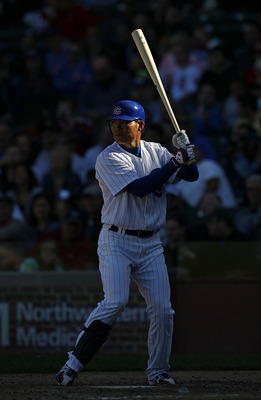 CHICAGO - SEPTEMBER 24: Kosuke Fukudome #1 of the Chicago Cubs prepares to bat against the St. Louis Cardinals at Wrigley Field on September 24, 2010 in Chicago, Illinois. The Cardinals defeated the Cubs 7-1. (Photo by Jonathan Daniel/Getty Images)