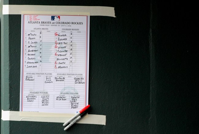 DENVER - JULY 11:  A detail of the line up card in the Atlanta Braves dugout as they face the Colorado Rockies during MLB action at Coors Field on July 11, 2009 in Denver, Colorado. The Braves defeated the Rockies 4-3.  (Photo by Doug Pensinger/Getty Imag