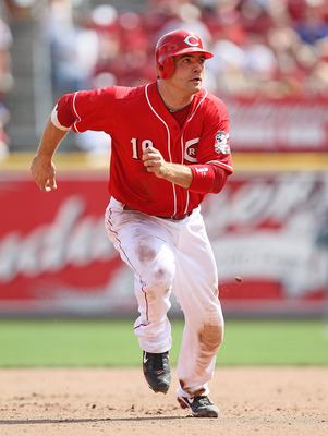 CINCINNATI - AUGUST 29:  Joey Votto #19 of the Cincinnati Reds runs the bases during the game against the Chicago Cubs at Great American Ball Park on August 29, 2010 in Cincinnati, Ohio.  (Photo by Andy Lyons/Getty Images)
