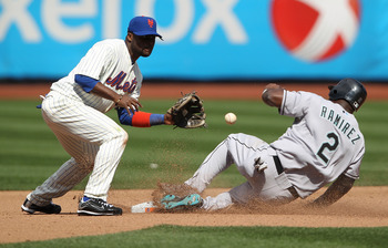 NEW YORK - APRIL 05: Hanley Ramirez #2 of the Florida Marlins steals second under the tag of Luis Castillo #1 of the New York Mets in the fourth inning during their Opening Day Game at Citi Field on April 5, 2010 in the Flushing neighborhood of the Queens