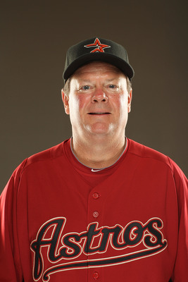 KISSIMMEE, FL - FEBRUARY 24:  Mike Barnett, Coach of the Houston Astros poses for a portrait during Spring Training photo Day at Osceola County Stadium  on February 24, 2011 in Kissimmee, Florida.  (Photo by Al Bello/Getty Images)