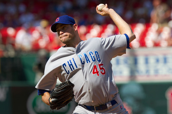 ST. LOUIS - AUGUST 15: Relief pitcher Sean Marshall #45 of the Chicago Cubs throws against the St. Louis Cardinals at Busch Stadium on August 15, 2010 in St. Louis, Missouri.  The Cubs beat the Cardinals 9-7.  (Photo by Dilip Vishwanat/Getty Images)