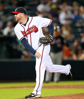 ATLANTA - AUGUST 31:  Pitcher Peter Moylan #58 of the Atlanta Braves against the New York Mets at Turner Field on August 31, 2010 in Atlanta, Georgia.  (Photo by Kevin C. Cox/Getty Images)