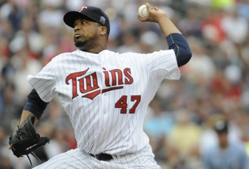 MINNEAPOLIS, MN - MAY 26: Francisco Liriano #47 of the Minnesota Twins pitches in the first inning against the New York Yankees during the game on May 26, 2010 at Target Field in Minneapolis, Minnesota. The Yankees defeated the Twins 3-2. (Photo by Hannah