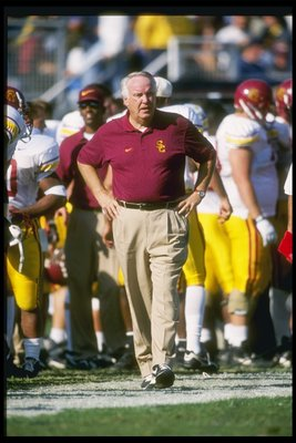 23 Nov 1996:  USC Trojans head coach John Robinson walks down the sidelines during game against the UCLA Bruins at the Rose Bowl in Pasadena, California.  UCLA won the game 48-41. Mandatory Credit: Stephen Dunn  /Allsport