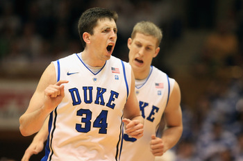 DURHAM, NC - FEBRUARY 23:  Ryan Kelly #34 of the Duke Blue Devils reacts to making a basket during their game against the Temple Owls at Cameron Indoor Stadium on February 23, 2011 in Durham, North Carolina.  (Photo by Streeter Lecka/Getty Images)