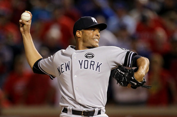 ARLINGTON, TX - OCTOBER 22:  Mariano Rivera #42 of the New York Yankees throws a pitch against the Texas Rangers in Game Six of the ALCS during the 2010 MLB Playoffs at Rangers Ballpark in Arlington on October 22, 2010 in Arlington, Texas.  (Photo by Step