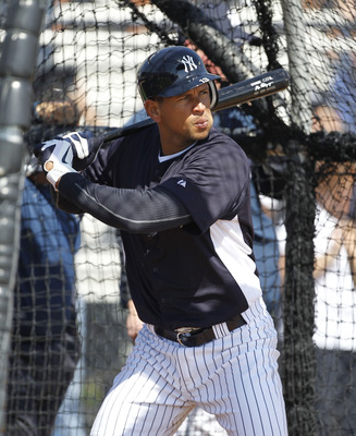 TAMPA, FL - FEBRUARY 21:  Alex Rodriguez #13 of the New York Yankees hits in the batting cage during the second day of full teams workouts at Spring Training on February 21, 2011 at the George M. Steinbrenner Field in Tampa, Florida.  (Photo by Leon Halip