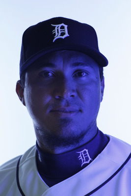 LAKELAND, FL - FEBRUARY 21:  (EDITORS NOTE: Image was shot with a colored gel on lights) Magglio Ordonez #30 of the Detroit Tigers poses for a portrait during Photo Day on February 21, 2011 at Joker Marchant Stadium in Lakeland, Florida.  (Photo by Nick L