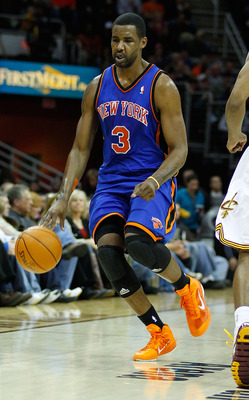 CLEVELAND, OH - FEBRUARY 25: Shawne Williams #3 of the New York Knicks dribbles the ball down the court during the game against the Cleveland Cavaliers on February 25, 2011 at Quicken Loans Arena in Cleveland, Ohio. NOTE TO USER: User expressly acknowledg