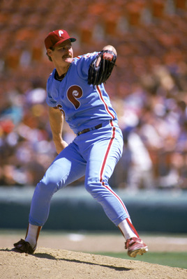 SAN DIEGO - 1987:  Kevin Gross of the Philadelphia Phillies pitches during the 1987 season MLB game against the San Diego Padres at Jack Murphy Stadium in San Diego, California.  (Photo by Stephen Dunn/Getty Images)