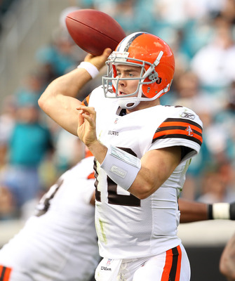 JACKSONVILLE, FL - NOVEMBER 21:  Colt McCoy #12  of the Cleveland Browns passes during a game agaisnt the Jacksonville Jaguars at EverBank Field on November 21, 2010 in Jacksonville, Florida.  (Photo by Mike Ehrmann/Getty Images)