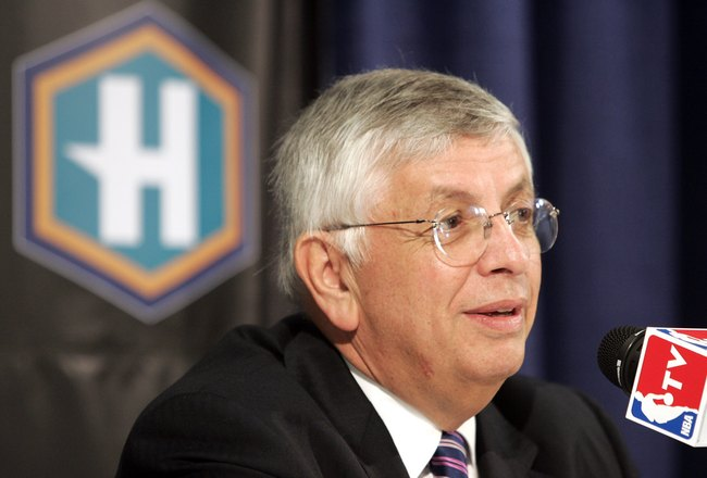 NEW ORLEANS - MARCH 8:  NBA Commissioner David Stern talks to the media before the first New Orleans/Oklahoma City Hornets game to be played since Hurricane Katrina in New Orleans as they take on the Los Angeles Lakers on March 8, 2006 at the New Orleans