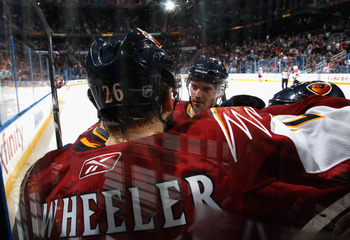ATLANTA, GA - FEBRUARY 25:  Blake Wheeler #26 of the Atlanta Thrashers reacts with teammates after scoring a goal against the Florida Panthers at Philips Arena on February 25, 2011 in Atlanta, Georgia.  (Photo by Kevin C. Cox/Getty Images)