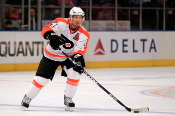 NEW YORK, NY - FEBRUARY 20:  Kimmo Timonen #44 of the Philadelphia Flyers skates against the New York Rangers at Madison Square Garden on February 20, 2011 in New York City. The Flyers defeated the Flyers 4-2.  (Photo by Chris Trotman/Getty Images)