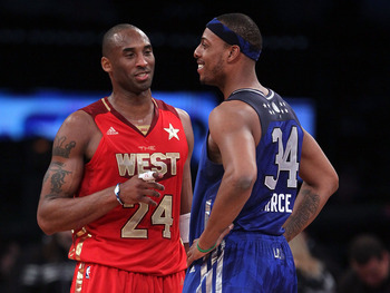 LOS ANGELES, CA - FEBRUARY 20:  Kobe Bryant #24 of the Los Angeles Lakers and the Western Conference stands with Paul Pierce #34 of the Boston Celtics and the Eastern Conference in the 2011 NBA All-Star Game at Staples Center on February 20, 2011 in Los A