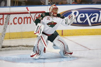 EDMONTON, CANADA - JANUARY 18: Anton Khudobin #35 of the Minnesota Wild defends the goal against the Edmonton Oilers on January 18, 2011 at Rexall Place in Edmonton, Alberta, Canada. (Photo by Dale MacMillan/Getty Images)