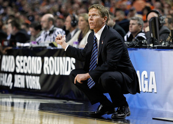 BUFFALO, NY - MARCH 19:  Head coach Mark Few of the Gonzaga Bulldogs looks on from the bench against the Florida State Seminoles look on during the first round of the 2010 NCAA men's basketball tournament at HSBC Arena on March 19, 2010 in Buffalo, New Yo