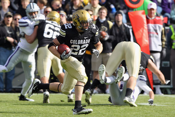 BOULDER, CO - NOVEMBER 20:  Arthur Jaffee #22 of the Colorado Buffaloes returns a kick off against the Kansas State Wildcats at Folsom Field on November 20, 2010 in Boulder, Colorado.  (Photo by Doug Pensinger/Getty Images)