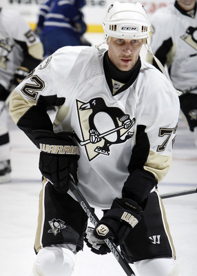 TORONTO, CANADA - FEBRUARY 26: Alexei Kovalev #72 of the Pittsburgh Penguins shoots during warmup before game action against the Toronto Maple Leafs at the Air Canada Centre February 26, 2011 in Toronto, Ontario, Canada. (Photo by Abelimages/Getty Images)