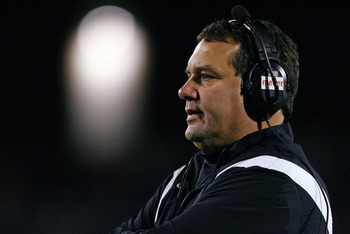 MUNCIE, IN - NOVEMBER 25:  Head coach Brady Hoke of the Ball State Cardinals watches the Mid-American Conference (MAC) game against the Western Michigan Broncos at Scheumann Stadium November 25, 2008 in Muncie, Indiana.  (Photo by Andy Lyons/Getty Images)