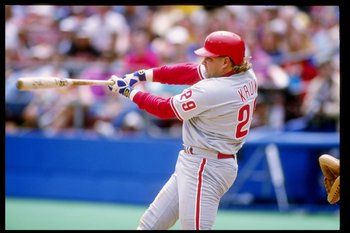 19 Apr 1992: Infielder John Kruk of the Philadelphia Phillies swings at the ball during a game against the Pittsburgh Pirates at Three Rivers Stadium in Pittsburgh, Pennsylvania.