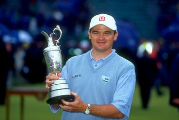 18 Jul 1999:  A portrait of Paul Lawrie of Scotland holds the British Open trophy after winning the event played at the Carnoustie GC in Carnoustie, Scotland. \ Mandatory Credit: David Cannon /Allsport