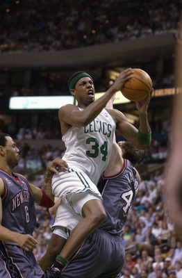 EAST RUTHERFORD, NJ - MAY 31:  Paul Pierce #34 of the Boston Celtics drives to the basket during the first period  of Game 6 of the Eastern Conference Finals at the Fleet Center in Boston Massachusetts on May 31, 2002. NOTE TO USER: User expressly acknowl