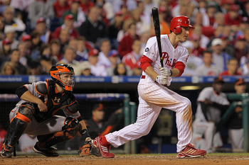 PHILADELPHIA - OCTOBER 17:  Chase Utley #26 of the Philadelphia Phillies at bat against the San Francisco Giants in Game Two of the NLCS during the 2010 MLB Playoffs at Citizens Bank Park on October 17, 2010 in Philadelphia, Pennsylvania.  (Photo by Doug