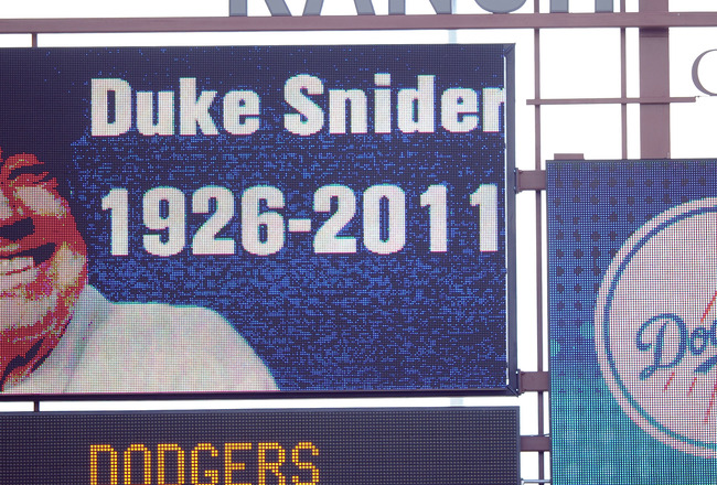 PHOENIX, AZ - FEBRUARY 27:  A picture of Duke Snider is displayed on the stadium scoreboard in honor of his life during the game bewteeen the Los Angeles Angels and the Los Angeles Dodgers during spring training at Camelback Ranch on February 27, 2011 in