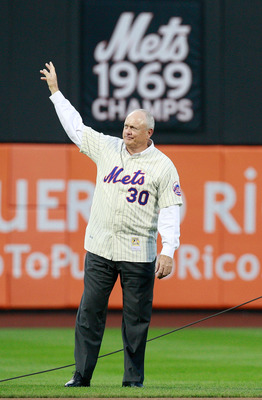 NEW YORK - AUGUST 22: Nolan Ryan stands in the outfield during the presentation commemorating the New York Mets 40th anniversary of the 1969 World Championship team on August 22, 2009 at Citi Field in the Flushing neighborhood of the Queens borough of New