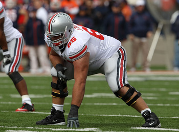 CHAMPAIGN, IL - OCTOBER 02: Justin Boren #65 of the Ohio State Buckeyes awaits the start of play against the Illinois Fighting Illini at Memorial Stadium on October 2, 2010 in Champaign, Illinois. Ohio State defeated Illinois 24-13. (Photo by Jonathan Dan