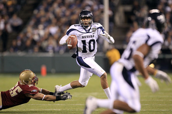 SAN FRANCISCO, CA - JANUARY 09:  Colin Kaepernick #10 of the Nevada Wolf Pack looks to pass the ball against Boston College during the Kraft Fight Hunger Bowl at AT&T Park on January 9, 2011 in San Francisco, California.  (Photo by Ezra Shaw/Getty Images)