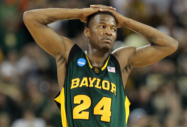 HOUSTON - MARCH 28: Guard LaceDarius Dunn #24 of the Baylor Bears reacts during a 78-71 loss against the Duke Blue Devils during the south regional final of the 2010 NCAA men's basketball tournament at Reliant Stadium on March 28, 2010 in Houston, Texas.
