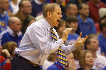 LAWRENCE, KS - DECEMBER 19: Head coach John Beilein of the Mighigan Wolverines yells during the game against the Kansas Jayhawks on December 19, 2009 at Allen Fieldhouse in Lawrence, Kansas. (Photo by Jamie Squire/Getty Images)