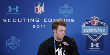 INDIANAPOLIS, IN - FEBRUARY 25: Alabama Crimson Tide quarterback Greg McElroy answers questions during a media session at the 2011 NFL Scouting Combine at Lucas Oil Stadium on February 25, 2011 in Indianapolis, Indiana. (Photo by Joe Robbins/Getty Images)