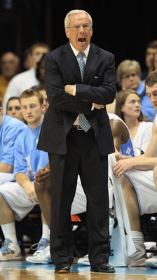 CHAPEL HILL, NC - FEBRUARY 27:  Head coach Roy Williams of the North Carolina Tar Heels yells at his team during their game against the Maryland Terrapins at the Dean E. Smith Center on February 27, 2011 in Chapel Hill, North Carolina.  (Photo by Streeter