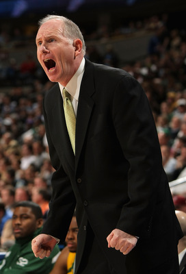 DENVER - MARCH 20:  Head coach Jim Larranaga of the George Mason Patriots reacts during the first round game of the East Regional against the Notre Dame Fighting Irish as part of the 2008 NCAA Men's Basketball Tournament at Pepsi Center on March 20, 2008