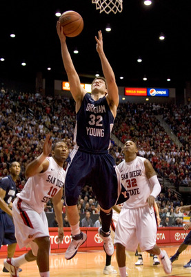 SAN DIEGO, CA - FEBRUARY 26:  Jimmer Fredette #32 of the Brigham Young Cougars shoots the ball against the San Diego State Aztecs during the second half at Cox Arena on February 26, 2011 in San Diego, California. BYU beat SDSU 80-67. (Photo by Kent Horner