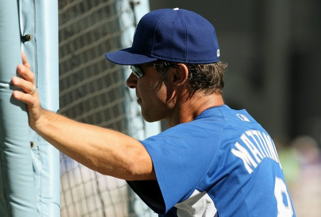 LOS ANGELES, CA - OCTOBER 16:  Batting Coach Don Mattingly of the Los Angeles Dodgers looks on during batting practice prior to the start of Game Two of the NLCS against the Philadelphia Phillies during the 2009 MLB Playoffs at Dodger Stadium on October 1
