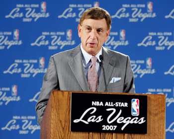 LAS VEGAS - AUGUST 5:  NBA announcer for TNT, Marv Albert, speaks at a news conference announcing that the city of Las Vegas will host the 2007 NBA All-Star Game on August 5, 2005 at the Las Vegas Convention Center in Las Vegas, Nevada. It will be the fir