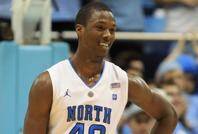 CHAPEL HILL, NC - FEBRUARY 27:  Harrison Barnes #40 of the North Carolina Tar Heels reacts as his team defeats the Maryland Terrapins 87-76 at the Dean E. Smith Center on February 27, 2011 in Chapel Hill, North Carolina.  (Photo by Streeter Lecka/Getty Im